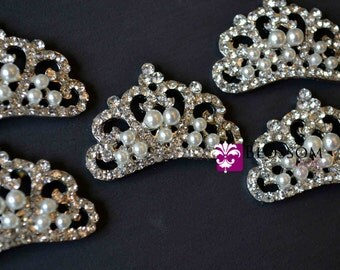 Rhinestone Pearl Metal Tiara Embellishments - Crystal Clear 23mmX33mm - Flower Centers - Flat Back Buttons - Wedding Bridal Prom Baby 103FB