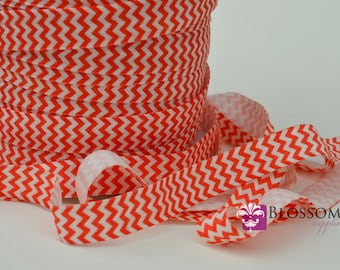 2 or 5 Yard Increments - RED CHEVRON 5/8 Inch Printed Fold Over Elastic - foe - Red White - Valentine's Day - Christmas