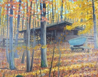 Boat By Shed, Autumn - original painting