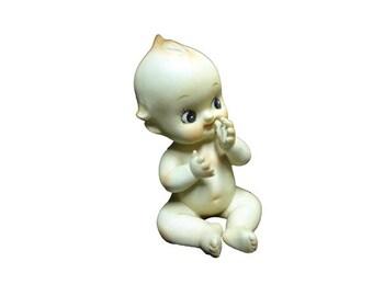 CLEARANCE Vintage Kewpie Figurine - Sitting Thumb Sucking Kewpie Doll, Vintage Bisque Piano Baby, Blue Angel Wings Vintage Naked Bisque Baby