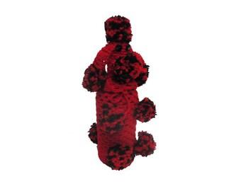 CLEARANCE Vintage Barware - Vintage Poodle Bottle Cover, Hand Knit Crochet Poodle, Mid Century Barware Wine Bottle Cozy, Liquor Bottle Cover