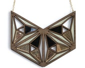 Kasumi statement necklace Japanese inspired laser cut walnut necklace