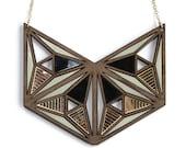 Kasumi statement necklace Japanese inspired laser cut walnut necklace