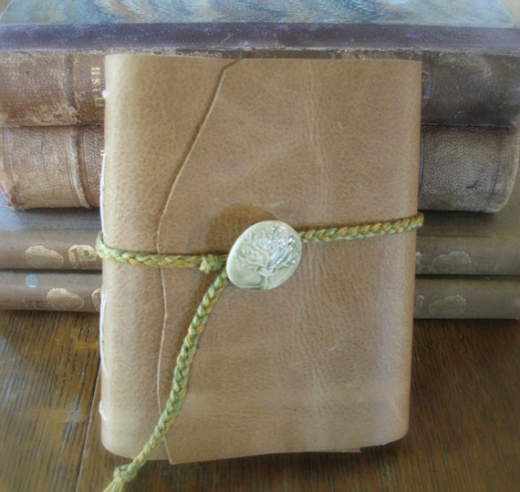 Leather journal handmade with banana paper. Tree of Life.