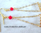delicate gold chain and red Swarovski dangle earrings, handmade, ready to ship, gifts for women, gifts for mom