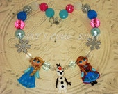 2# FROZEN inspired Elsa, Anna and Olaf theme Custom Chunky Bead Necklace