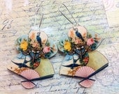 Vintage Fans with Birds - earrings with 925 Sterling Wires - So Sweet and Shabby Chic!