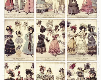 SALE Printable French Victorian Fashion ATC Tags JPG file to download instantly by Jodie Lee
