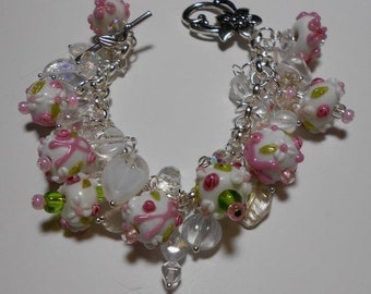 50% OFF! Pink, white and green breast cancer glass beads, beautiful crystal beads and silver flower toggle clasp.