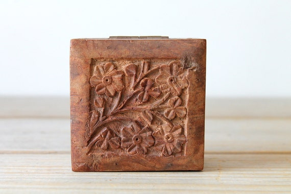 Boho vintage carved wood box rustic home decor bohemian