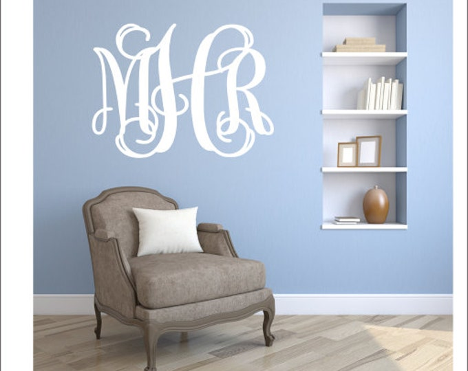 Monogram Wall Decal Vinyl Wall Monogram Vinyl Decal Wall Decal Fancy Vine Monogram Nursery Bedroom Dorm Room Monogram Preppy Housewares