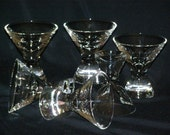 """Vintage 6 Stemless Heavy Bottom Cordial Glass Clear 3.5"""" Tall Weighted Bottoms 2"""" across"""