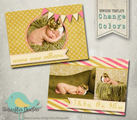 Vintage Baby Announcement PHOTOSHOP TEMPLATE - Baby Girl Whimsical