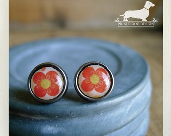 CLEARANCE! Coral Petals. Post Earrings -- (Vintage-Style, Coral, Pink, Shabby Chic, Small, Round, Flower Studs, Romantic, Cute Gift Under 5)