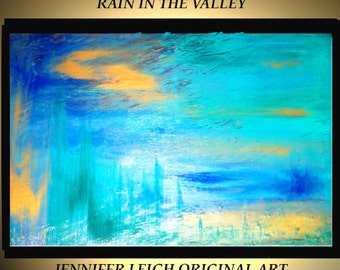 "Original Large Abstract Painting Modern Contemporary Canvas Art Turquoise Gold ""Rain in the Valley"" 36x24 Palette Knife Texture Oil J.LEIGH"