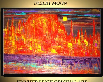 Original Large Abstract Painting Modern Contemporary Canvas Art Orange Black Purple DESERT MOON 36x24 Palette Knife Texture Oil J.LEIGH