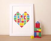 Heart Print, Love Poster, Graphic Art Print, Kids Bedroom Art, Colorful Wall Art, Love Heart Print, Nursery Poster, Bold Design
