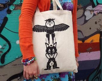 Totem Pole Tote Bag, Animal Tote, Illustrated bag, cute screenprinted tote bag, Owl bag, black handprinted tote, rabbit tote, hipster bag,