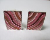 Vintage Jewelry clip on  earrings, pink enamelled  rectangle and silver toned metal, not Signed