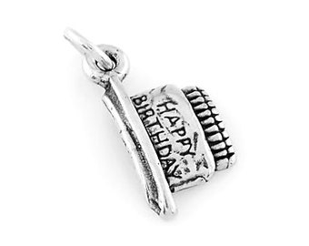 Sterling Silver Happy Birthday Charm (Flat back Charm)
