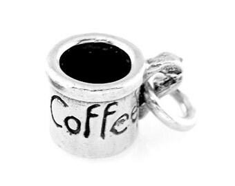 Sterling Silver Coffee Cup Charm (3d Charm)