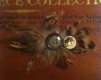 Vintage button feather hair clip