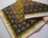 Vintage Linen Handkerchief Floral Print in Autumn Browns Tans and Orange a 1950s Hankie and Women's Purse Accessory