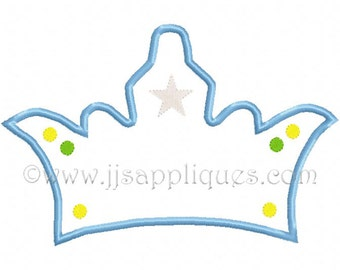 Instant Download - Crown Embroidery Applique Designs - Prince Crown embroidery applique design 4x4, 5x7, 6x10 hoop sizes