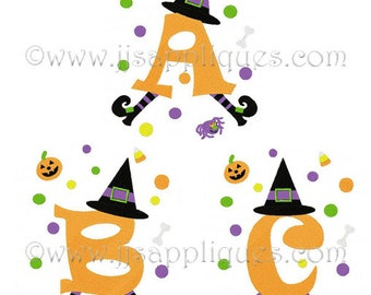 Instant Download - Fonts Halloween Designs Embroidery Font - Witch Decorated Large Capital Letters 5x7, 6x10 hoops