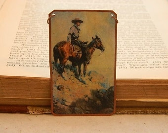 Cowboy necklace or pendant art jewelry mixed media jewelry