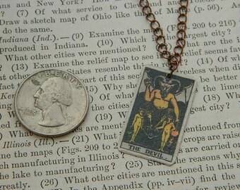 Tarot necklace tarot jewelry The Devil minimalist jewelry mixed media jewelry supernatural
