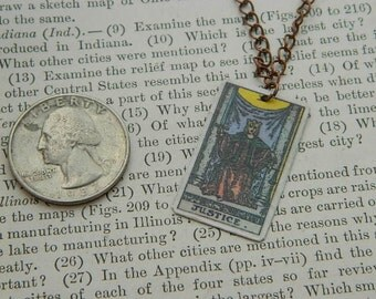 Tarot pendant tarot jewelry Justice minimalist jewelry mixed media jewelry supernatural