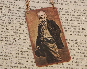 Walt Whitman necklace Standing Walt mixed media jewelry literature literary