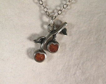 Vintage Cherries or Apples Sterling Silver Red Mosaic Necklace