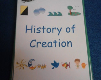 Creation Story Laminated Reading Set, Kids Bible Stories, Christian Homeschool, Children's Church, Kids Ministry, Educational Toy, Scripture