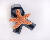 Starfish Boutonniere with Navy Blue Ribbon- Beach Wedding