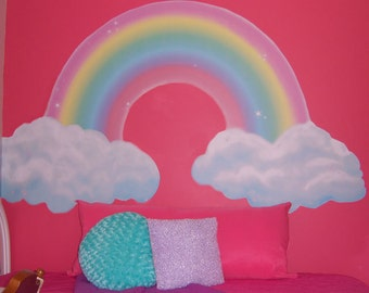 Rainbow Mural for Girls Room Walls