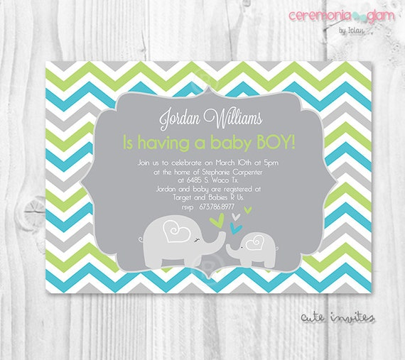 Baby Showers On Saturday Or Sunday ~ Elephant baby shower boy invitation turquoise and green