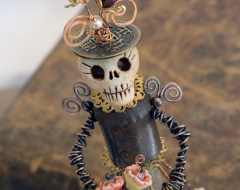 OOAK Day of the Dead Mixed Media Skeleton Sculpture Handmade Skull Art Doll