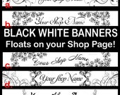 BLACK WHITE Shop Banners, Etsy Shop Banners, Premade Banners, Simple Banners