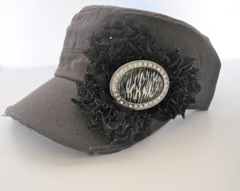 Charcoal Grey Cadet  Military Distressed  Army Hat with Black Sparkle Chiffon Flowers and a Zebra Rhinestone Brooch Accent