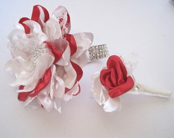 Wrist Corsage Bracelet Set Prom Homecoming Red And Light Ivory Satin with Lace with Rhinestone Accents Wedding Proms Homecoming Shower
