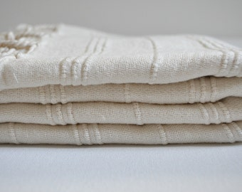 Thick Turkish Towel Peshtemal towel Cotton Peshtemal Stone washed Ivory Towel