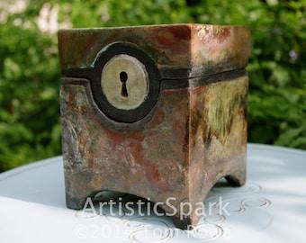 Hinged Raku Mystery Box (ceramic, handcrafted, art, gift)