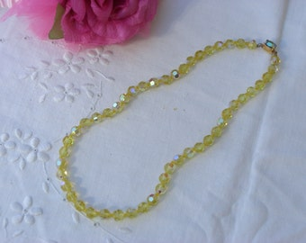Crystal Necklace - Yellow - Vintage