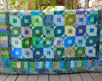 66 x 66 Inch Blue and Green Batik Hand Made Contemporary Lap Quilt or Wallhanging