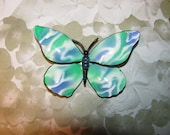 Vintage Beautiful Large Marbled Look Enamel Rhinestone Butterfly Brooch Pin