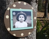 Distressed Picture Frame, Round 8x10 Frame, Polka Dot Picture Frame, 8x10 Picture Frame, Round Picture Frame