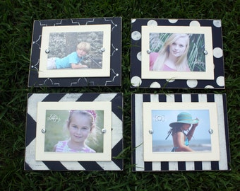 Set of 5x7 Frames, Wall Gallery, Frame Set, 5x7 Frames, Chevron Frame, Distressed Frame, Wall Collage