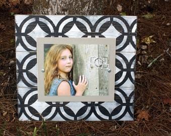 Distressed Picture Frame, Wood 8x10 Frame, Black Picture Frame,  8x10 Picture Frame, Wood Plank Frame, Geometric Print Frame